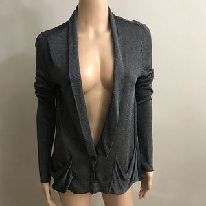 Free People Cardigan Sz S Black Silver shimmer